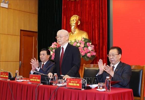 Tổng Bí thư Nguyễn Phú Trọng dự Hội nghị tổng kết Hội đồng Lý luận Trung ương nhiệm kỳ 2016 - 2021. Ảnh: TTXVN